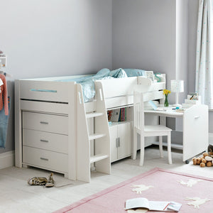 tate ivory chest of drawers and mid sleeper bed