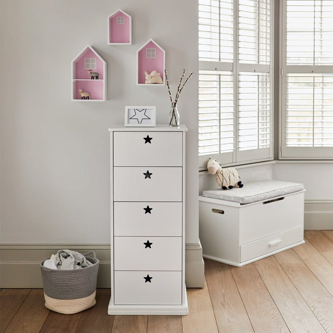 Tall, white chest of drawers