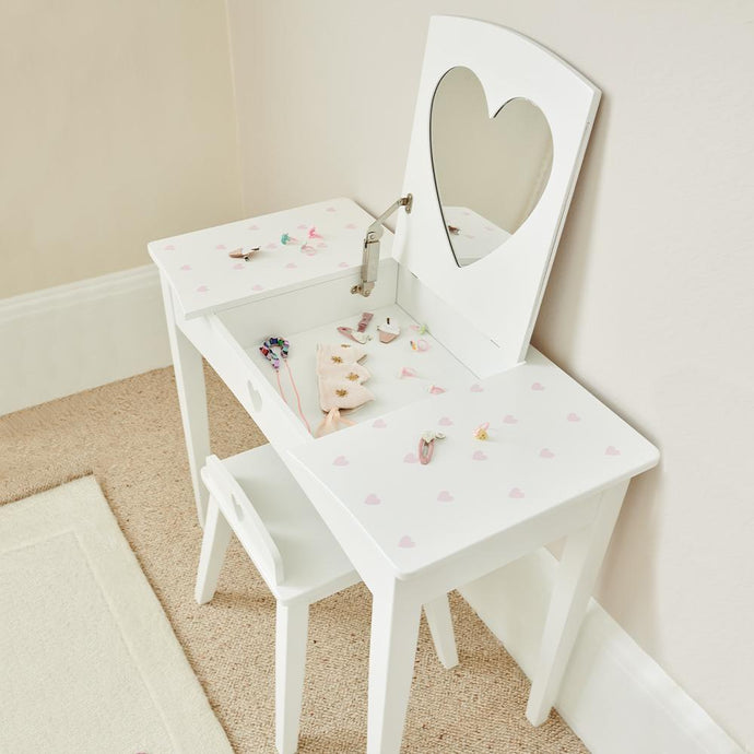 Sweetheart Dressing Table & Stool Set, Pink Hearts