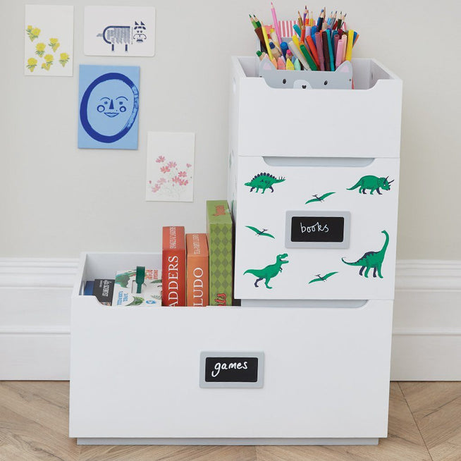 White, large wooden toy storage