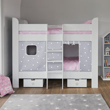 Paddington Bunk Bed, Grey Stardust Curtains