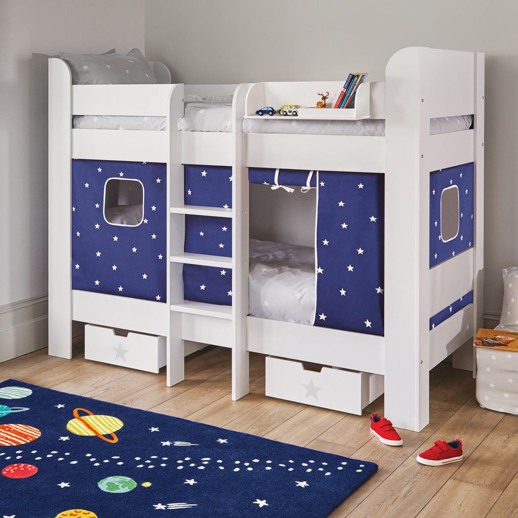 Paddington Bunk Bed, Navy Stardust Curtains