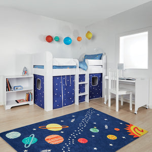Paddington Mid Sleeper, Navy Stardust Curtains