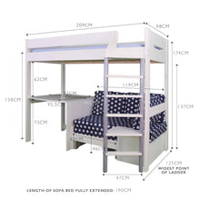 Merlin High Sleeper with Desk, Navy Stardust