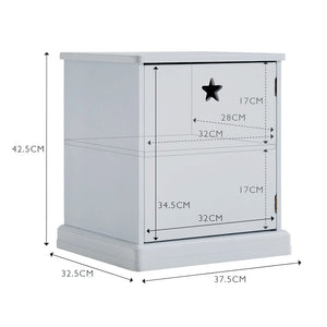 Star Bright Bedside Table, Cloud Grey