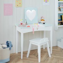 Sweetheart Dressing Table & Stool Set, Aqua Polka Dot
