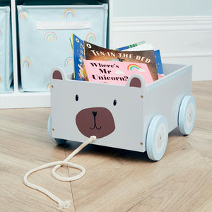 mr bear wooden book cart