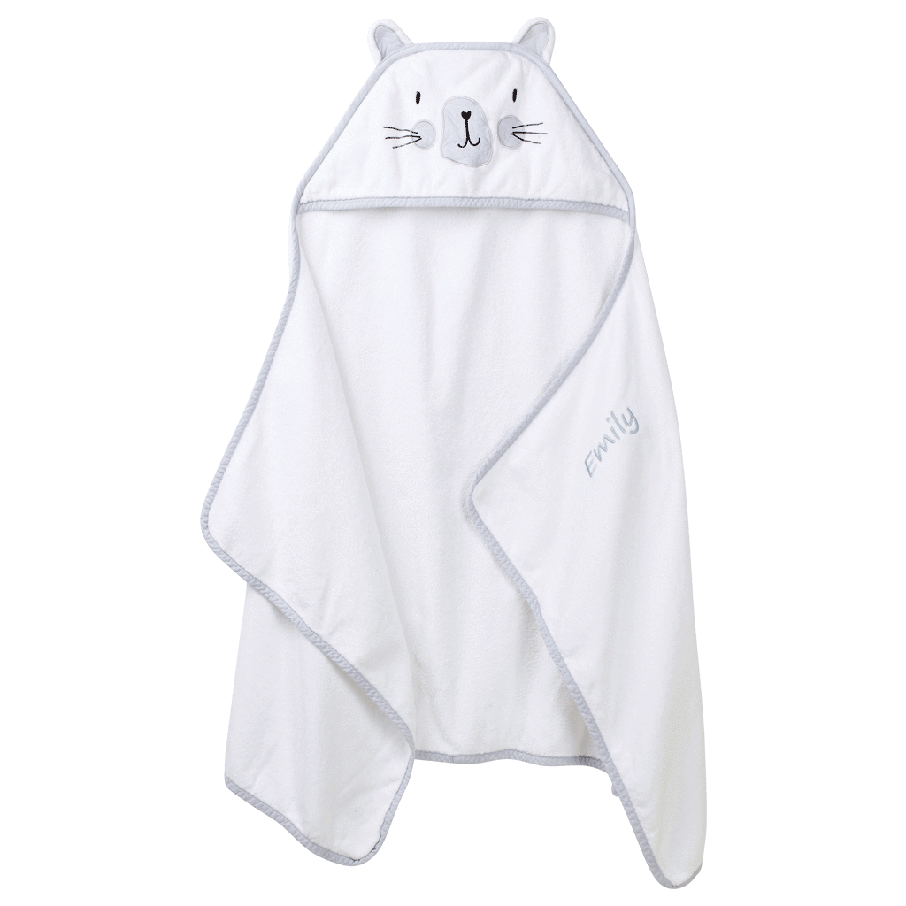 Personalised Hooded Towel, Miss  Cat