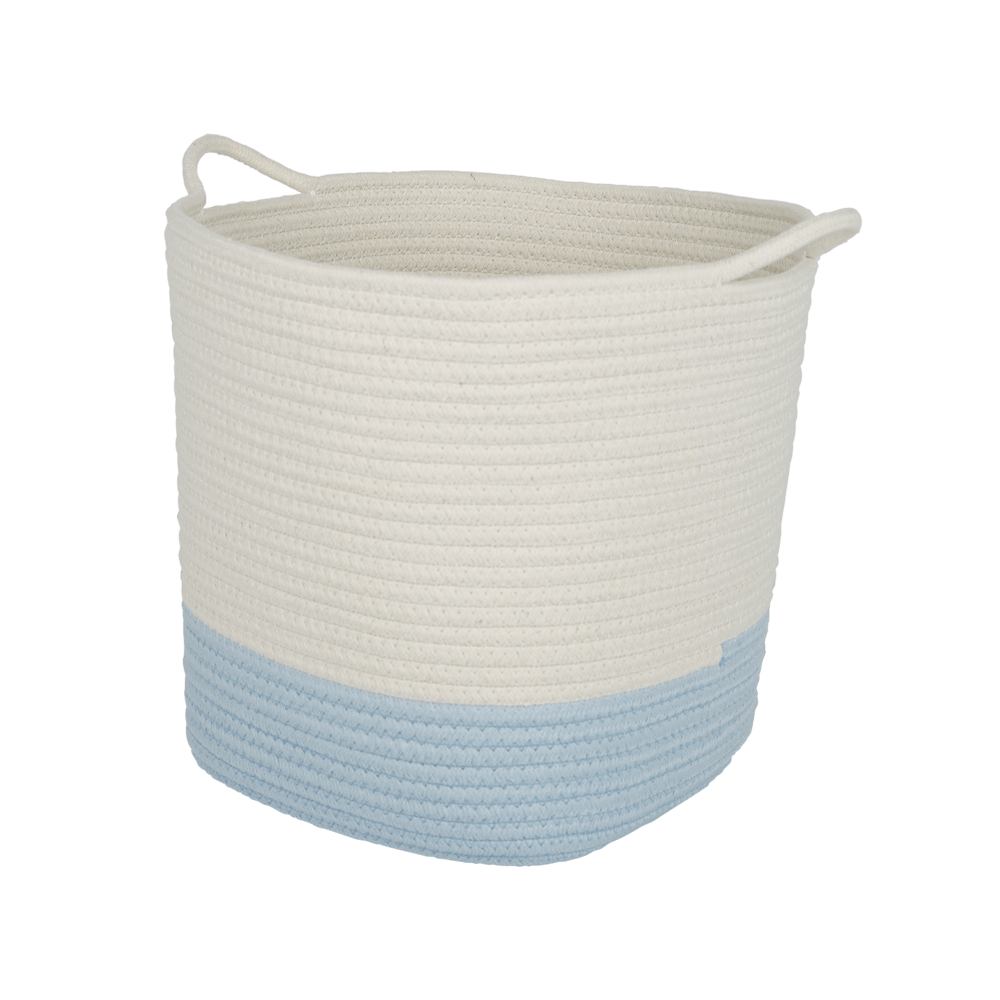 Rope Storage Basket, Ivory & Sky Blue
