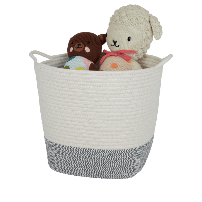 Rope Storage Basket, Ivory & Zigzag