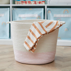 Rope Storage Basket, Ivory & Pink