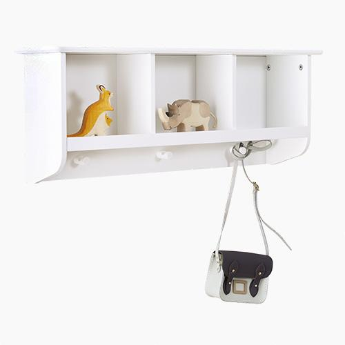 Pigeonhole Wall Shelf with Hooks, White