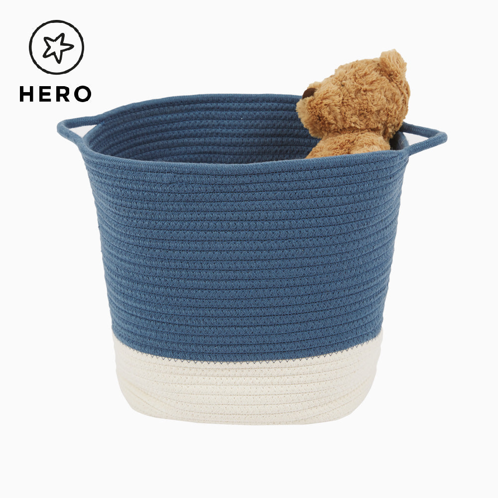 Rope Storage Basket, Ivory & Galaxy Blue