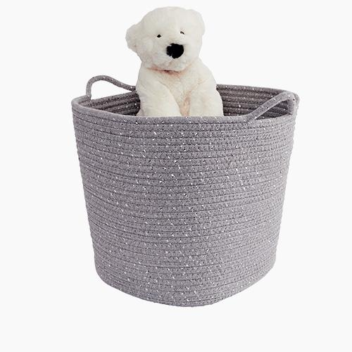 Rope Storage Basket, Metallic Grey