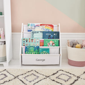Personalised Sling Bookcase, White