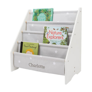 Personalised Sling Bookcase, Grey Stardust
