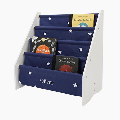 Personalised Sling Bookcase, Navy Stardust