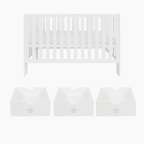 Little Wren Cot Bed & Mattress & Underbed Storage Drawers