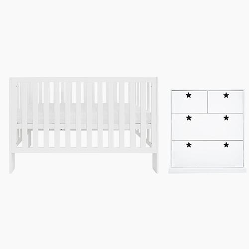 Little Wren Cot Bed & Mattress & Star Bright Chest of Drawers
