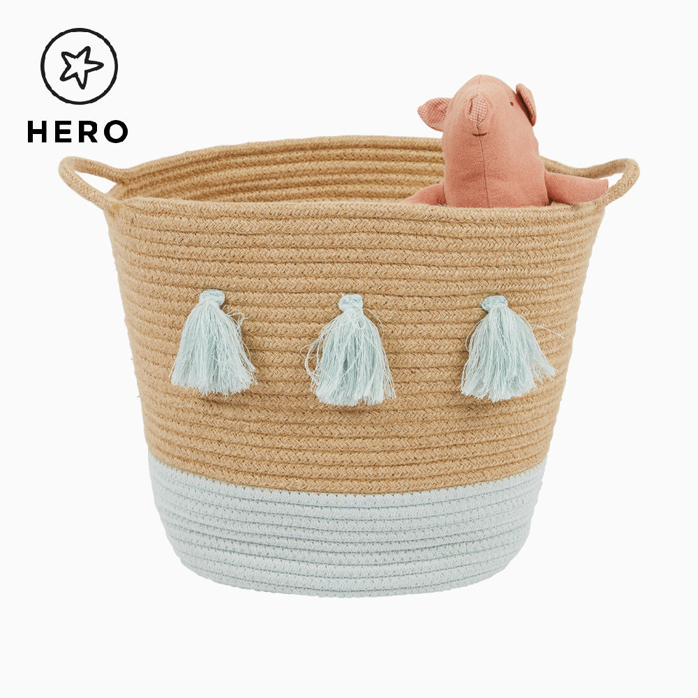 Rope Storage Basket, Natural & Sage Tassels