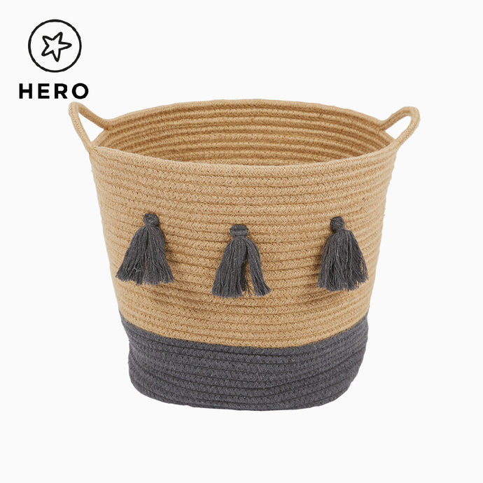 Rope Storage Basket, Natural & Dark Grey Tassels
