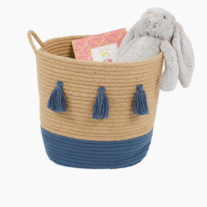 Rope Storage Basket, Natural & Galaxy Blue Tassels