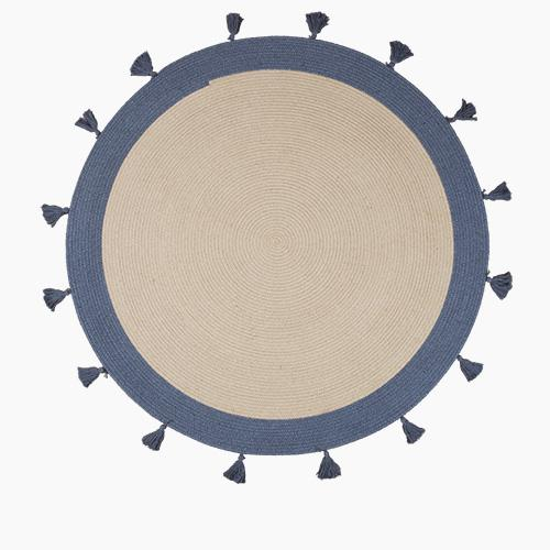 Round Rug with Tassels, Natural & Dark Grey