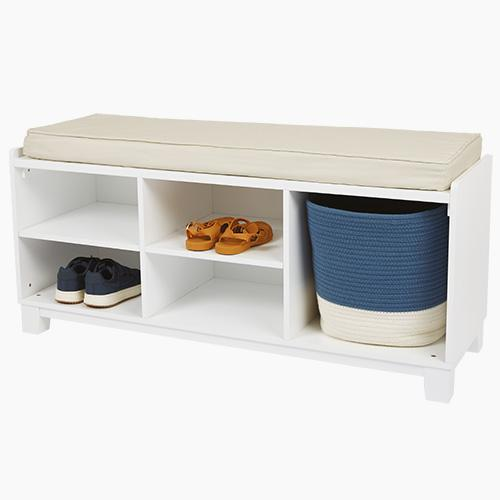 Blake Storage Bench Set, White with Natural Cushion