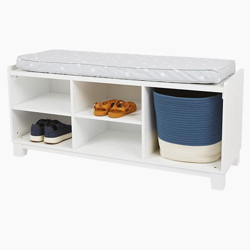 Blake Storage Bench Set, White with Grey Stardust Cushion