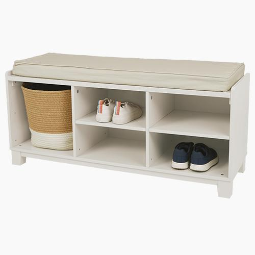 Blake Storage Bench Set, Oatmeal with Natural Cushion