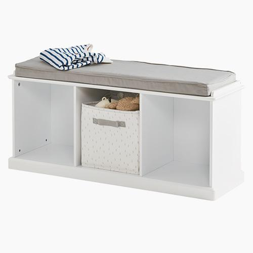 Abbeville Storage Bench Set, White with Grey Cushion
