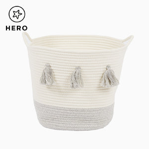 Rope Storage Basket, Ivory & Grey Tassels
