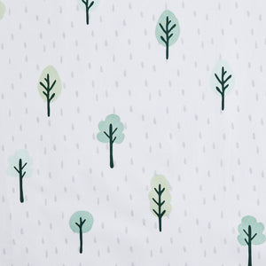 White curtain print with woodland trees
