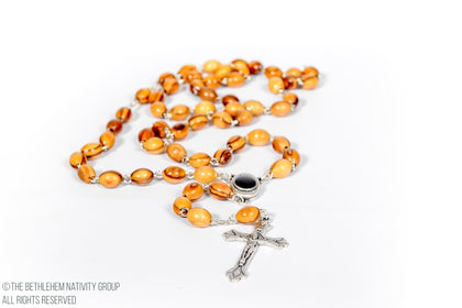 Olive Wood Rosary With Jerusalem Earth/www.tbng.co.uk