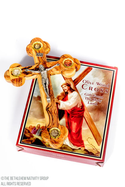 Olive Wood Crucifix With Holy Land Relics