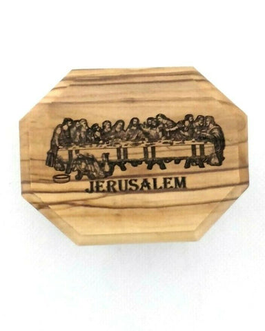 Hand Made Engraved Last Supper Olive Wood Rosary/Jewellery Box