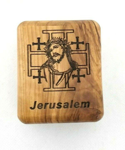Hand Made Engraved Jerusalem Cross & Christ face Olive Wood Rosary/Jewellery Box