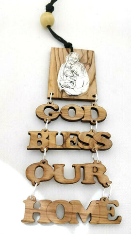 Hand Made Olive Wood Holy Family God bless our home wall hanging