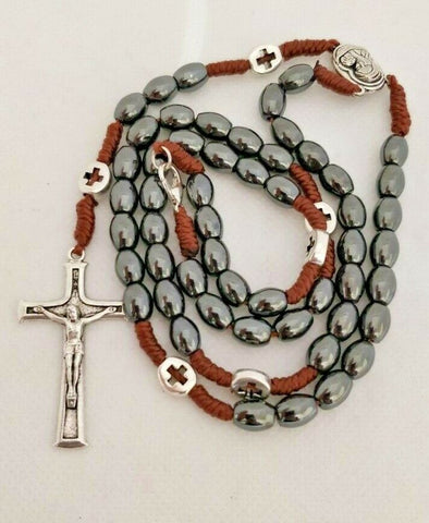 Latin Catholic Handmade Natural Hematite Stone strong brown corded Rosary with Jerusalem soil