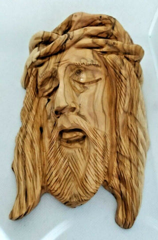 Hand Carved Olive Wood Face Of Christ with Crown of Thorns Wall Hanging