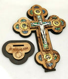 Hand Made Olive Wood & Mother Of Pearl Crucifix From Bethlehem,The Holy Land