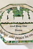 Hand Crafted Mother Of Pearl Bethlehem Christmas Crib / Nativity Wall Plaque / Glory be to God Prayer