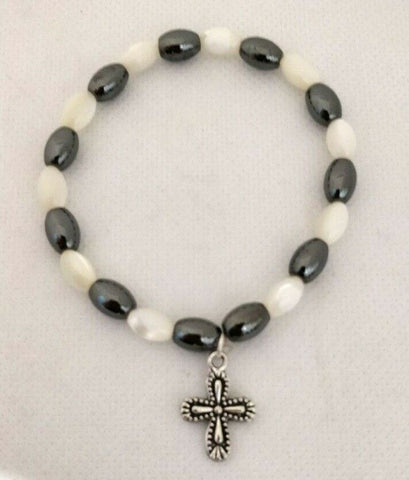 Mother Of Pearl and Hematite Stone Bracelet With Zinc Cross