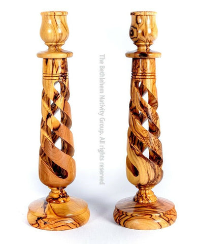 Large Size Olive Wood Candle Holders Sticks/ Free Candles