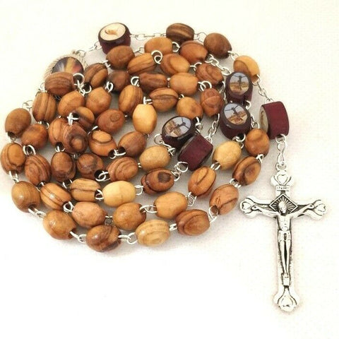 Hand made Unique Catholic Olive Wood Rosary with Icons, Plenty details in info !