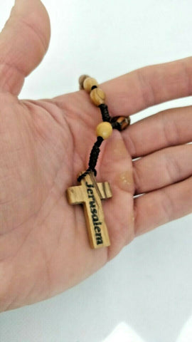 Handcrafted Olive Wood Prayer/Car/Hand Comfort Rosary Beads, Made in Jerusalem