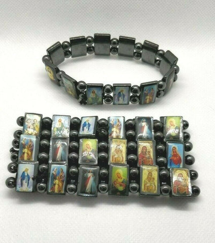 Hematite Natural Stone Magnetic all Saints, Mary & Jesus Elasticated Bracelet