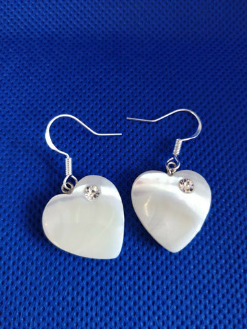 Hand Made Heart Shape MOTHER OF PEARL & 925 Sterling Silver Earrings