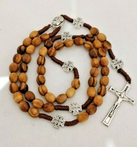 Catholic Olive Wood strong corded Rosary with Jerusalem Soil.