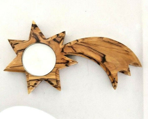 Hand made Olive Wood Shooting Star Candle Holder with a free Candle